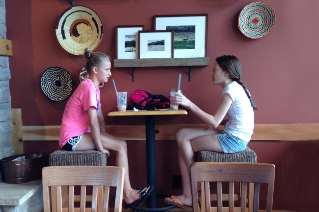 Two girls at coffee shop